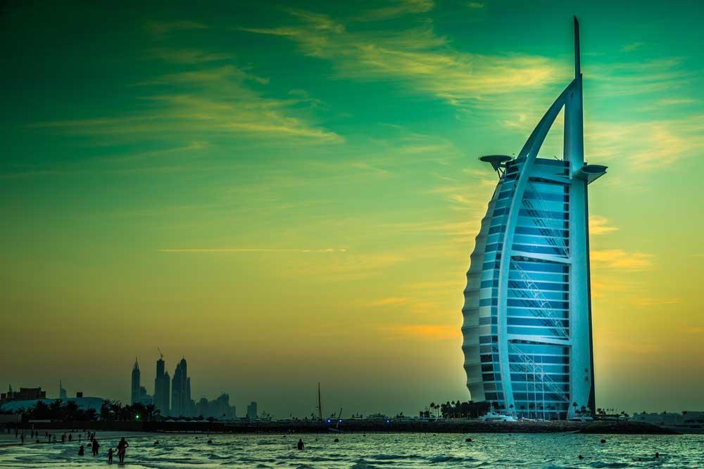 The world's first seven stars luxury hotel Burj Al Arab in Dubai.