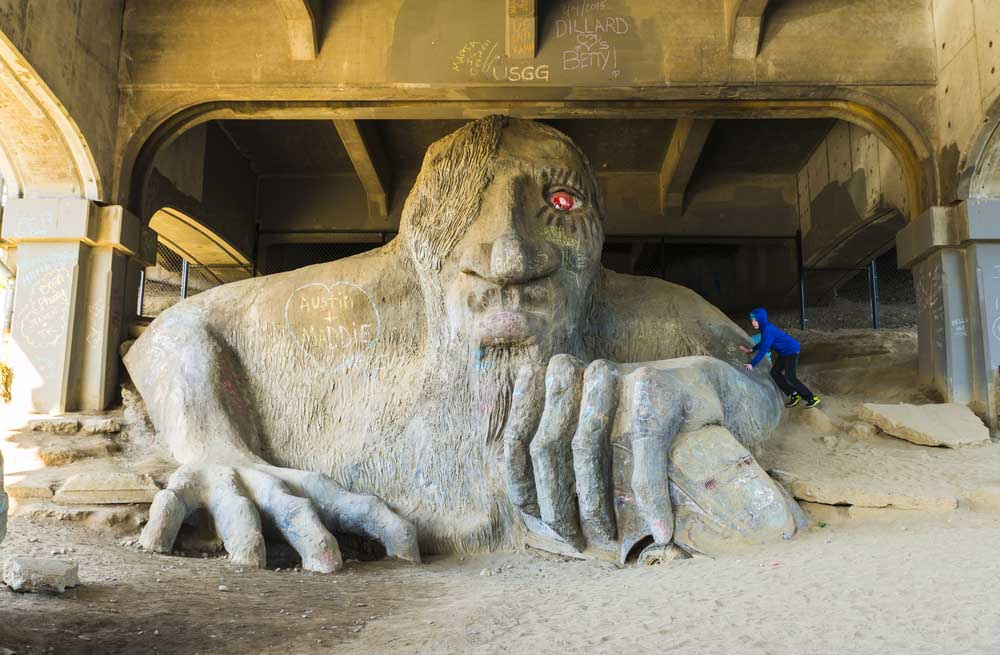 The Fremont troll sculpture under the Aurora bridge, Seattle.