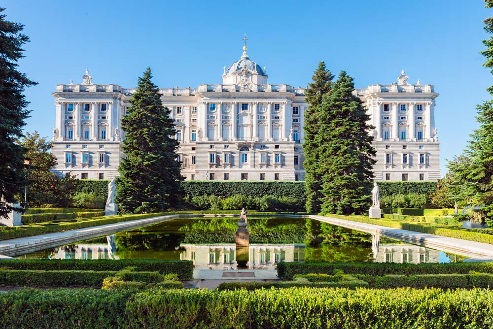 Royal Palace in Madrid, as seen from the Sabatini Gardens.