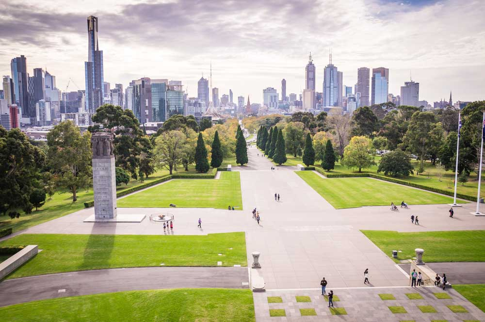 View of Melbourne's skyline from Shrine of Remembrance.