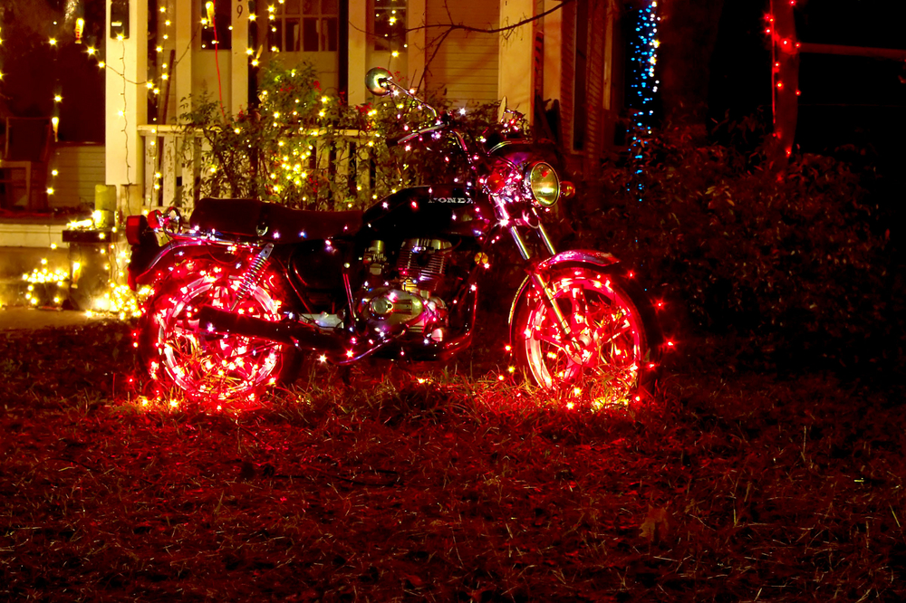 Christmas lights adorn motorcycle on 37th Street, Austin, Texas. Photo: Victor Engel/Shutterstock