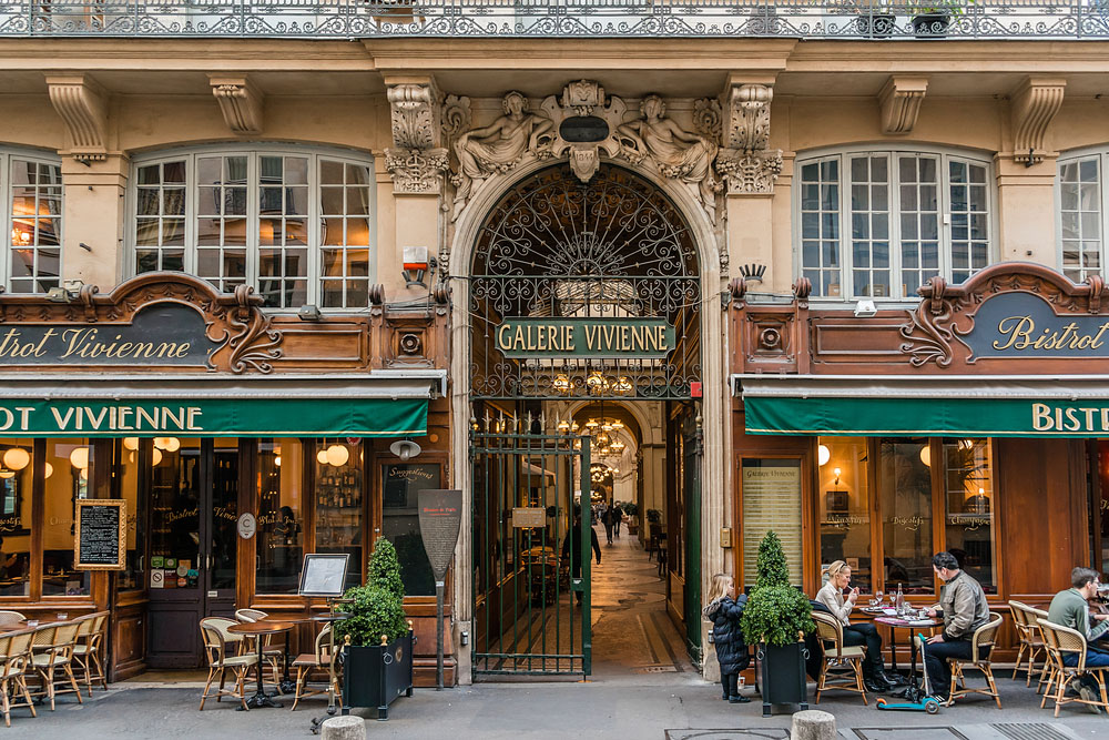 Galerie Vivienne, a lovely covered passageway lined with shops and cafés, is a short walk north from the Louvre. Photo: Shutterstock