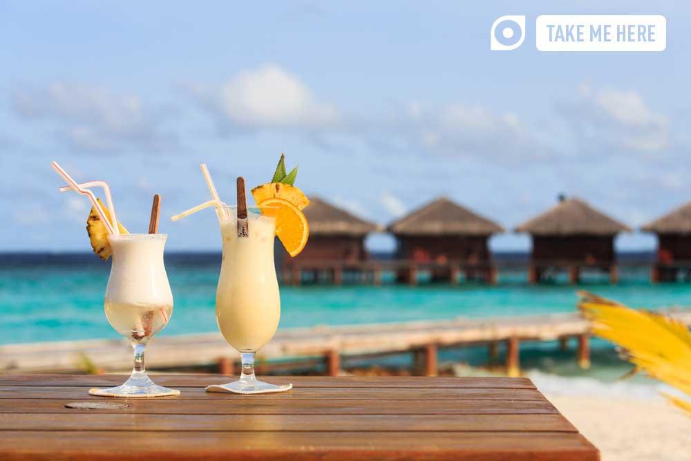 Cocktails overlooking Maldives resort