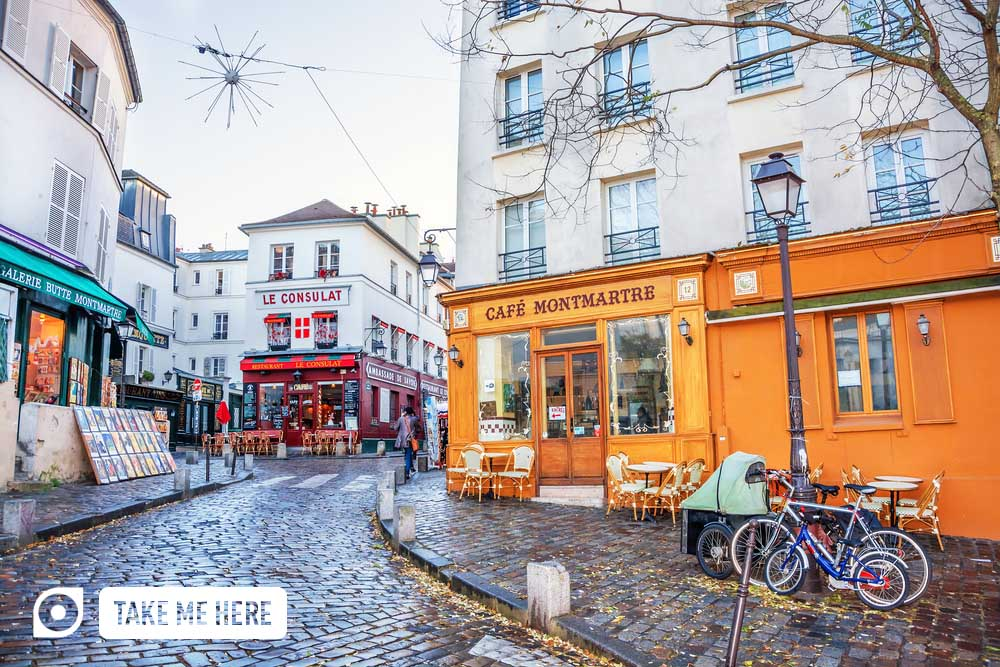 Typical French street in Montmartre district.