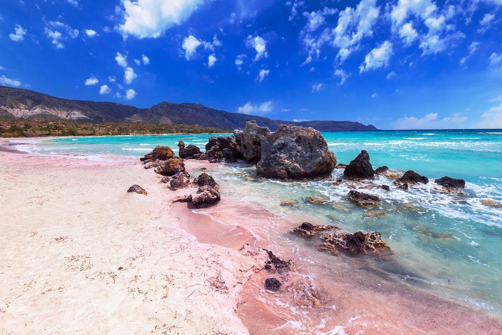 Pink sand beach at Elafonísi, Crete, Greece