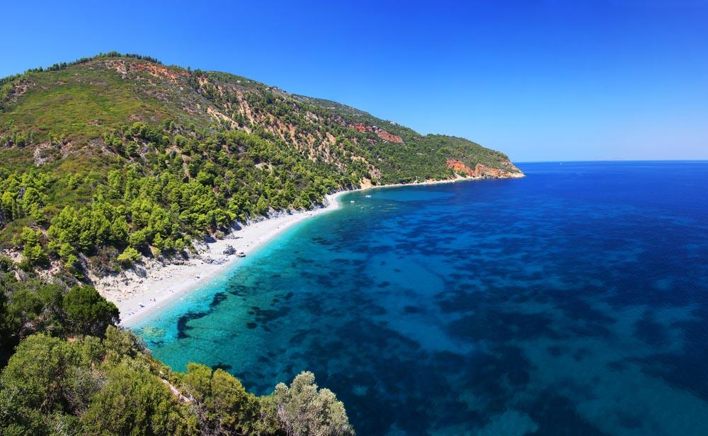 Wonderful beach at Velanio, Skopelos, Greece.