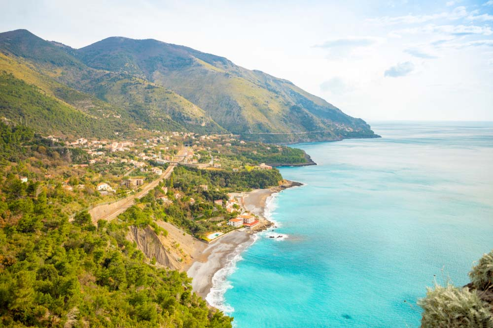 Aerial view of Acquafredda village in Italy