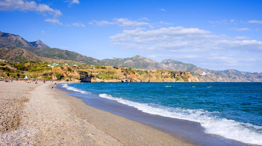 Burriana beach in Nerja, Costa del Sol, Andalucia. Photo: Shutterstock
