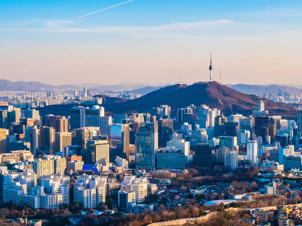 Seoul cityscape with N Seoul Tower