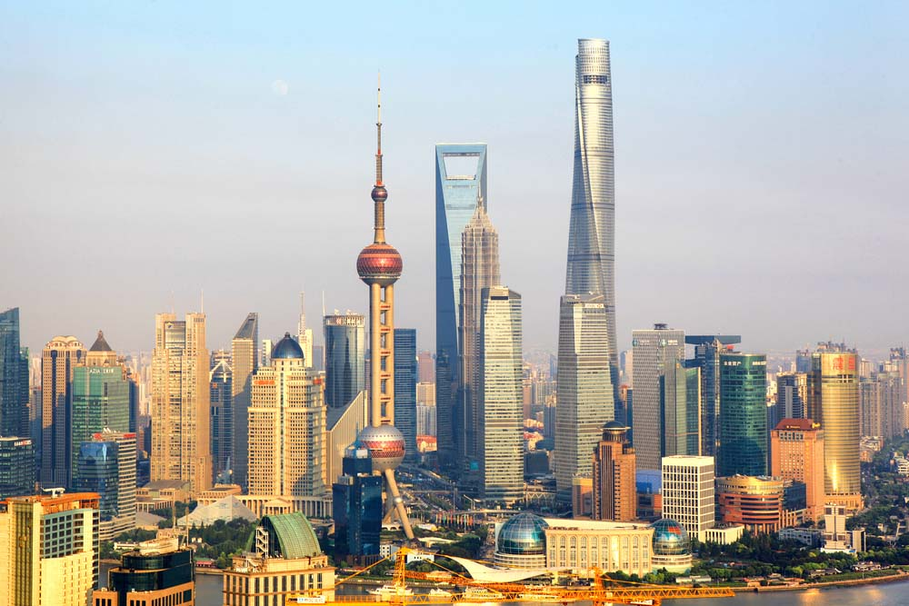 The Lujiazui skyline with Shanghai Tower
