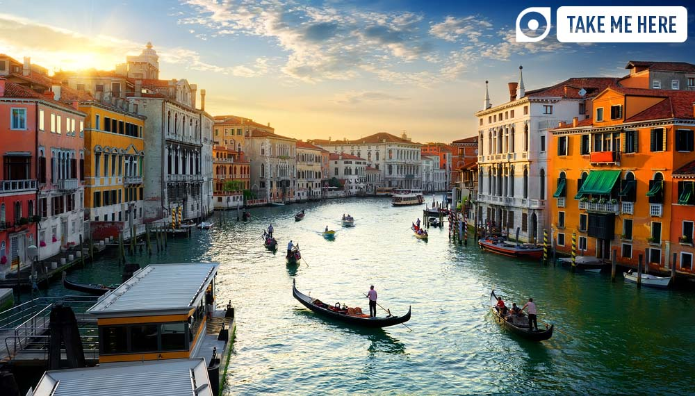 Venice's Grand Canal at sunset