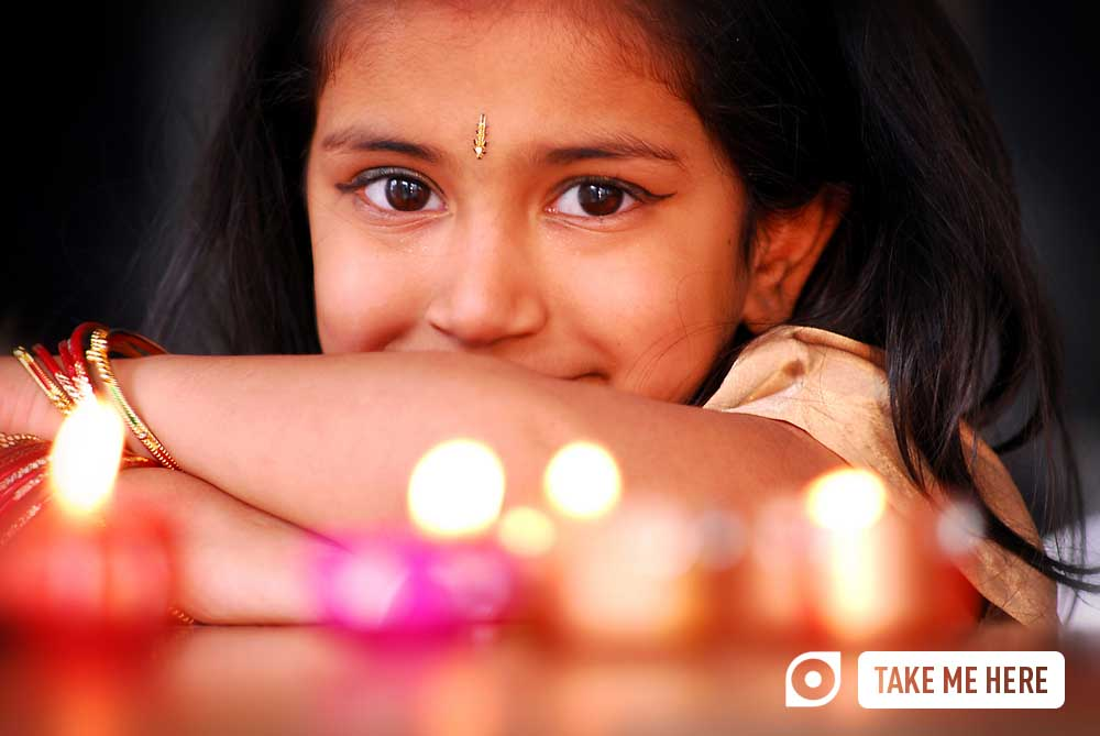 Young girl celebrating Diwali.