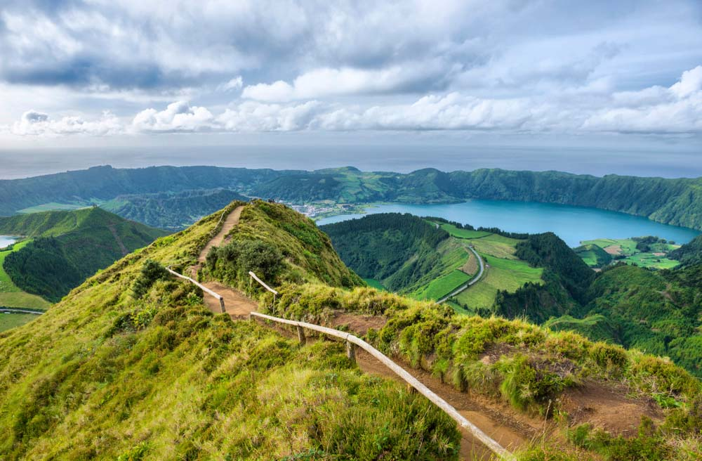 Hiking trail with lake views, Sao Miguel Island, Azores.