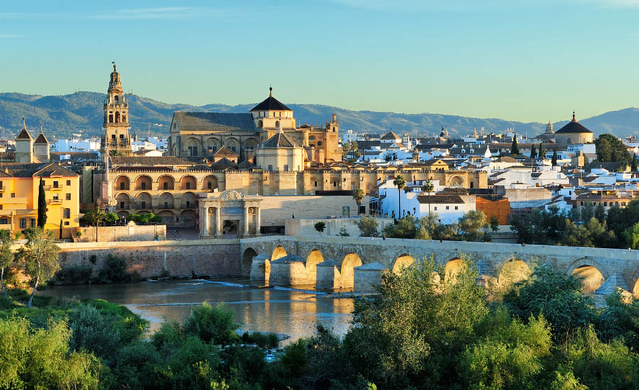 Córdoba with Roman bridge and the Mezquita.