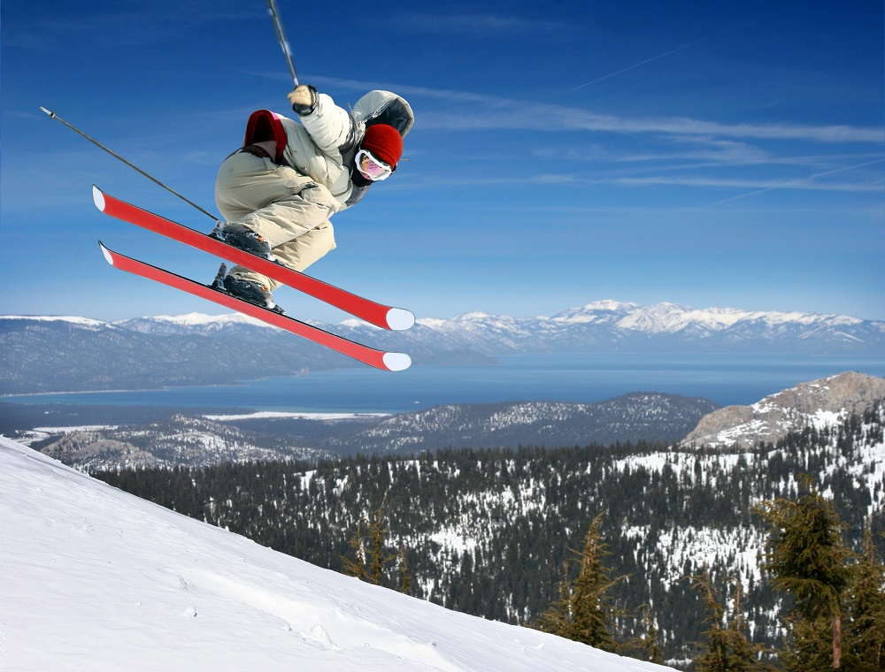 Jumping high at Lake Tahoe resort. Photo: Galina Barskaya/Shutterstock