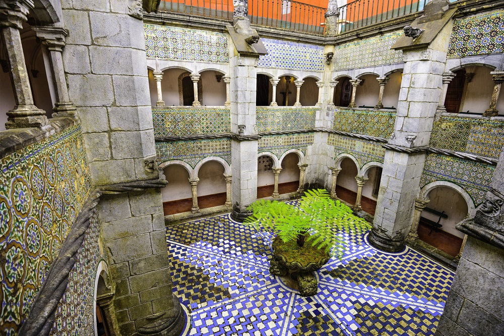 Inner courtyard of National Palace of Pena, Sintra.