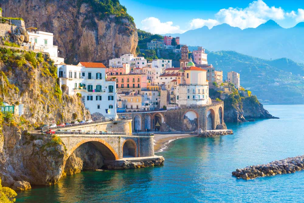 Amalfi coastline on the Mediterranean, Italy.