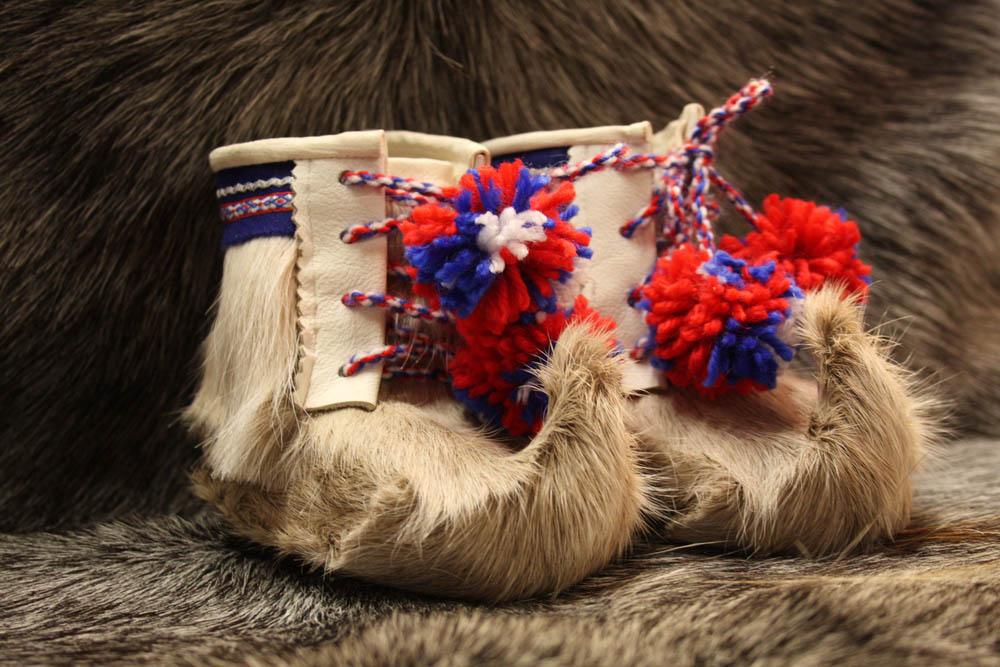 Reindeer skin boots for children in Pokka, Finland.