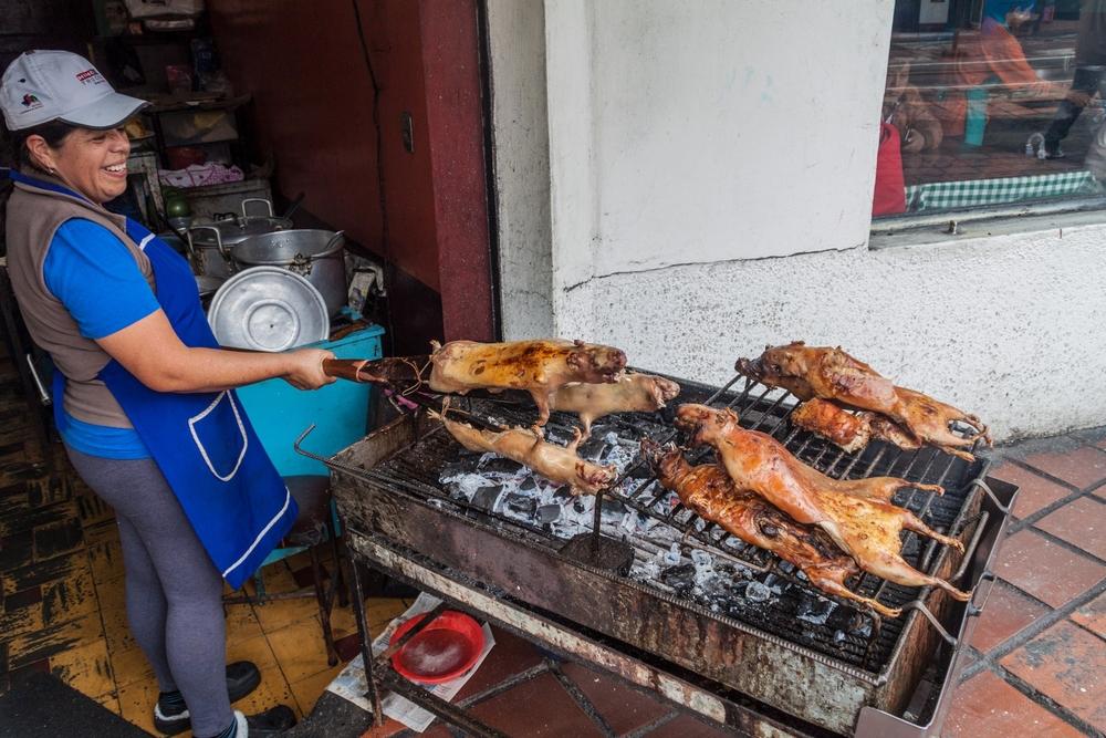 Roasted guinea pigs at a market in Banos de Agua Santa, Ecuador. Photo: matyas rehak/Shutterstock