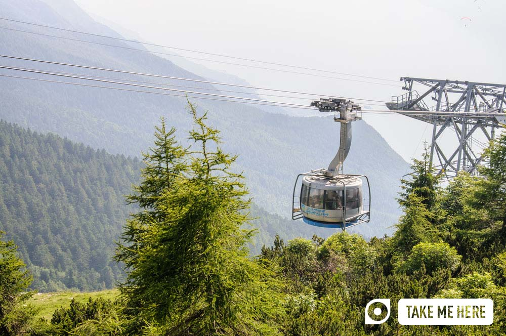A rotating cable car going up Monte Baldo.