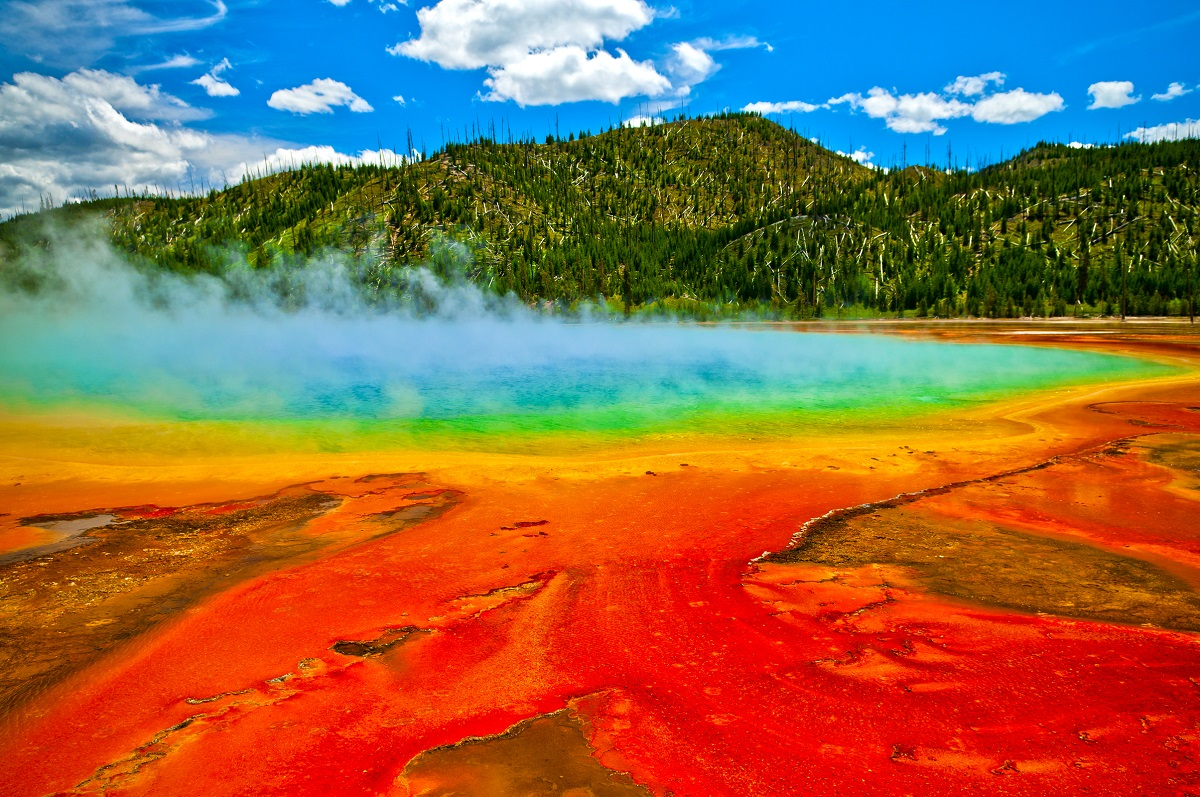 Beautiful cerulean geyser surrounded by colorful layers of bacteria, against cloudy blue sky, Yellowstone. Photo: Kris Wiktor/Shutterstock