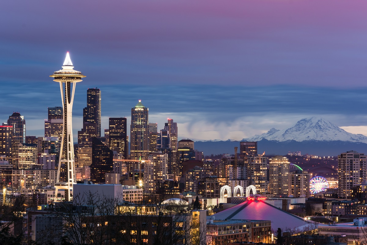 Seattle skyline at night. Photo: Punit Sharma Photography/Shutterstock