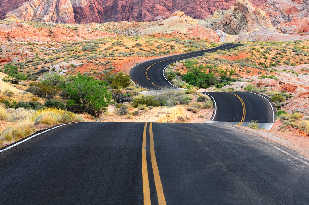 A road runs through it in the Valley of Fire State Park near Las Vegas Nevada. Photo: Shutterstock