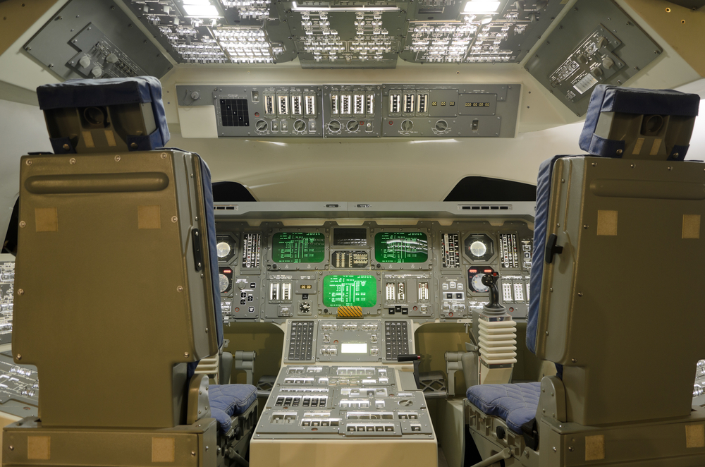 Cockpit of a full size Space Shuttle model demonstrates control and operation system in Hong Kong Space Museum. Photo: Shutterstock