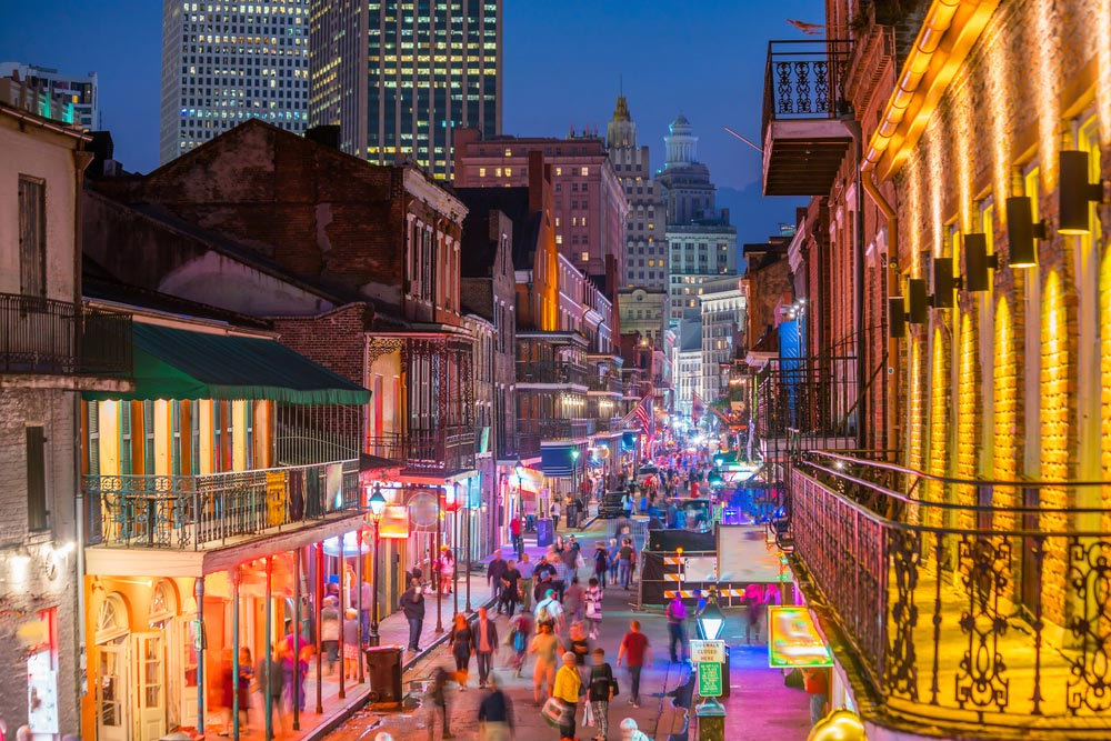 Pubs and bars with neon lights in the French Quarter, New Orleans.