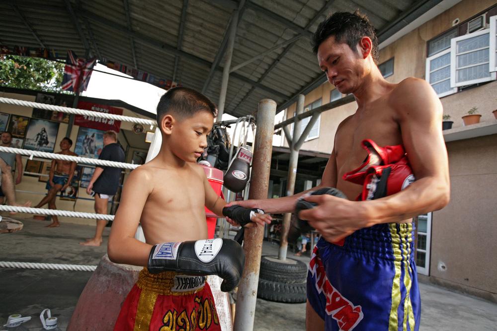 Unidentified boxer in Muaythai School in Bangkok,Thailand. Photo: Shutterstock