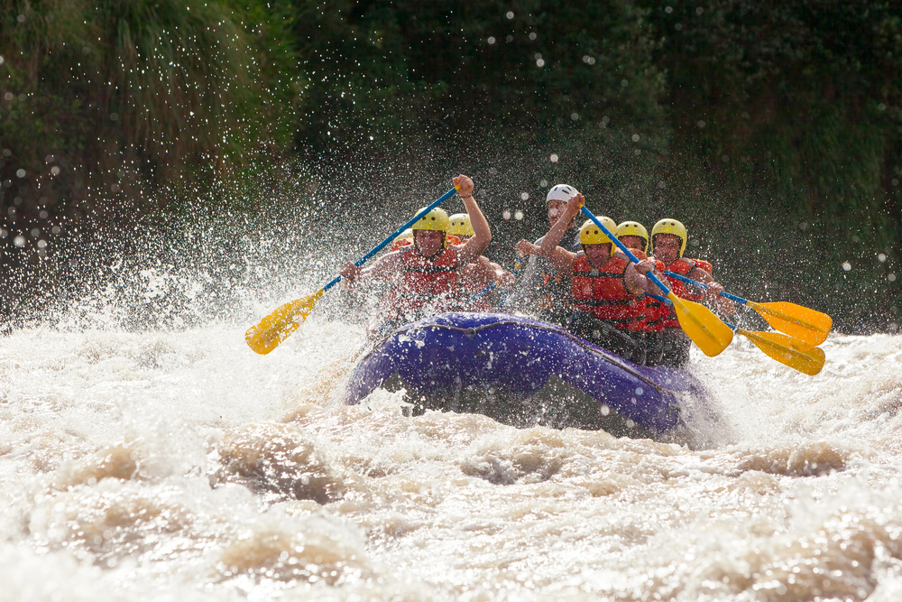 Whitewater river rafting in Ecuador.