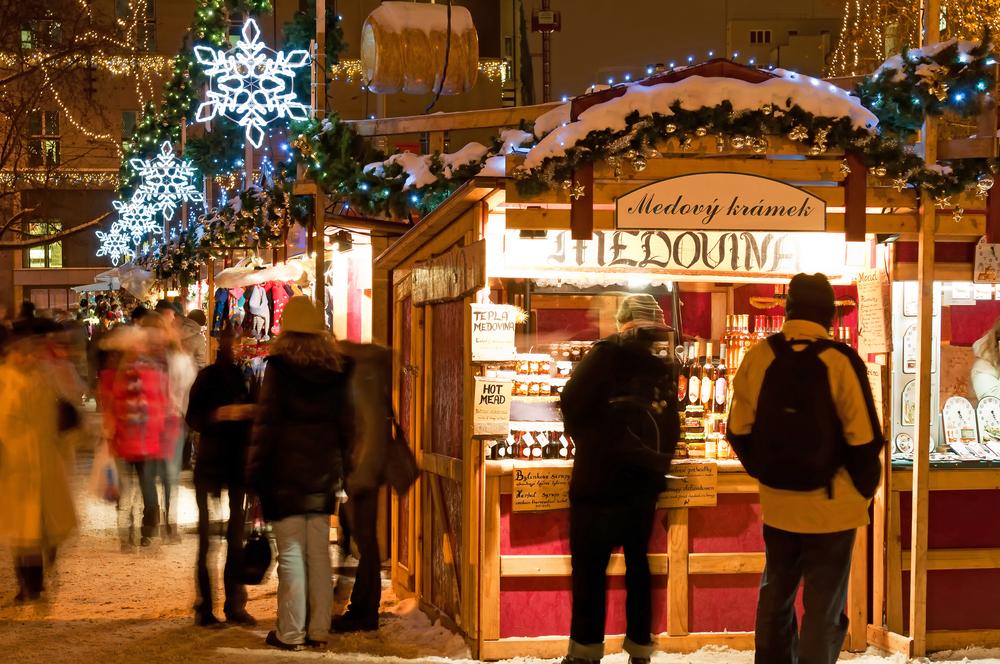 Stalls at Prague Christmas market.