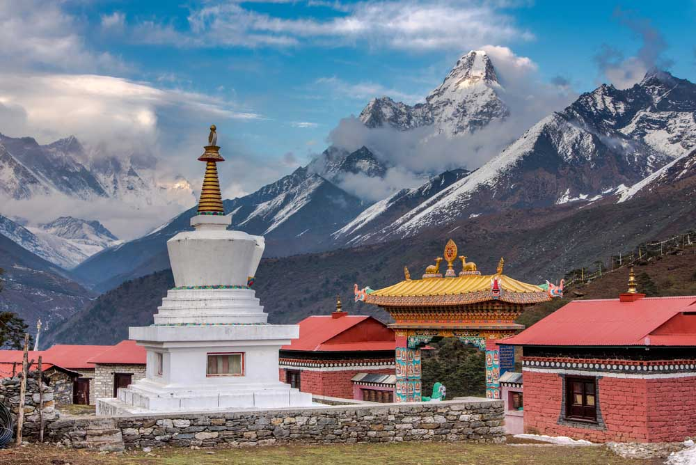 Tengboche Monastery with Mt. Amadablam, Everest base camp trekking, Nepal