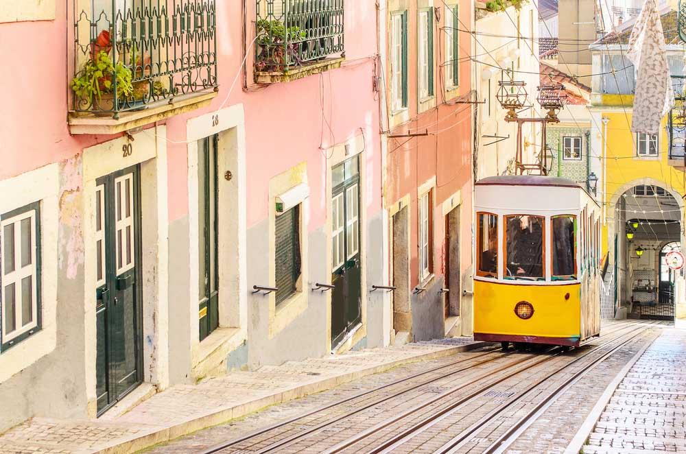 Lisbon's Glória Funicular climbing through the picturesque district of Bairro Alto.