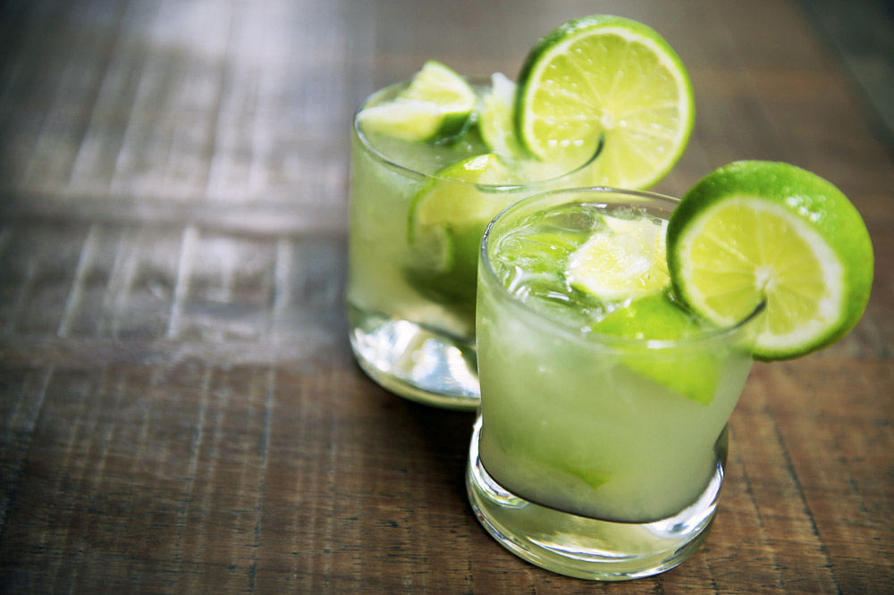 Two authentic fresh Brazilian lime caipirinhas. Photo: Shutterstock