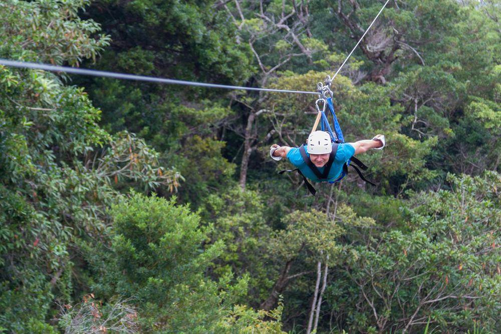 Zip-lining through the Monteverde cloud forest