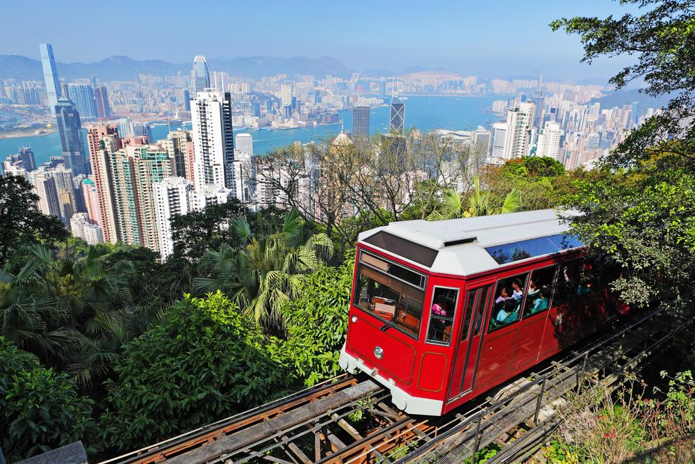 Tourist tram at the Peak.