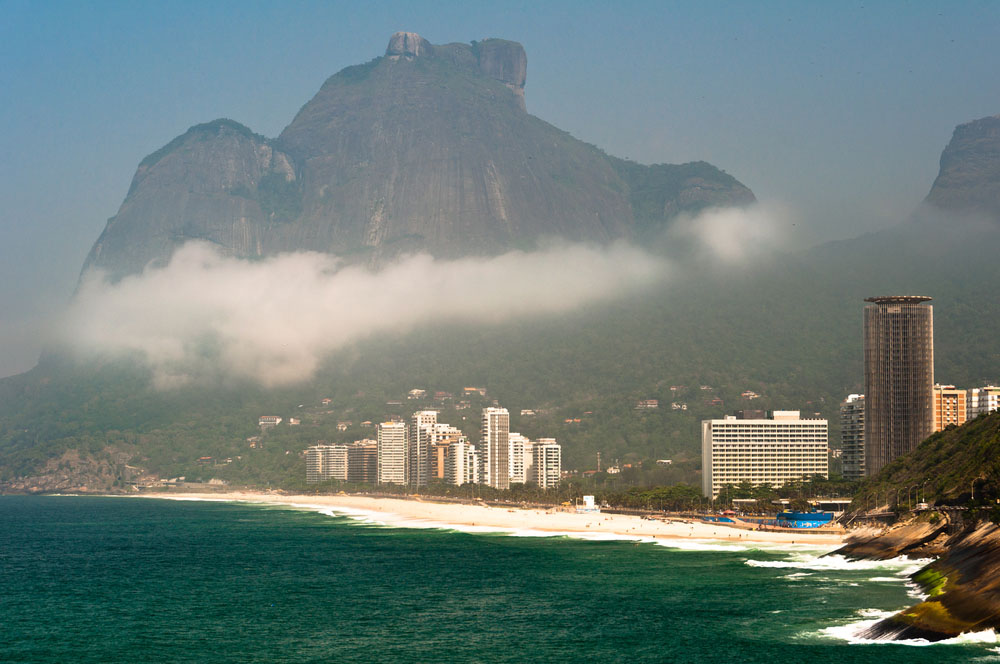 Scenic Rio de Janeiro Coast with Sao Conrado Beach and Pedra da Gavea Mountain. Photo: Shutterstock