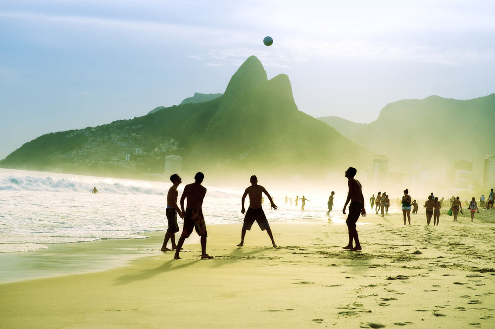 Brazilians playing beach football on Ipanema Beach. Photo: Shutterstock
