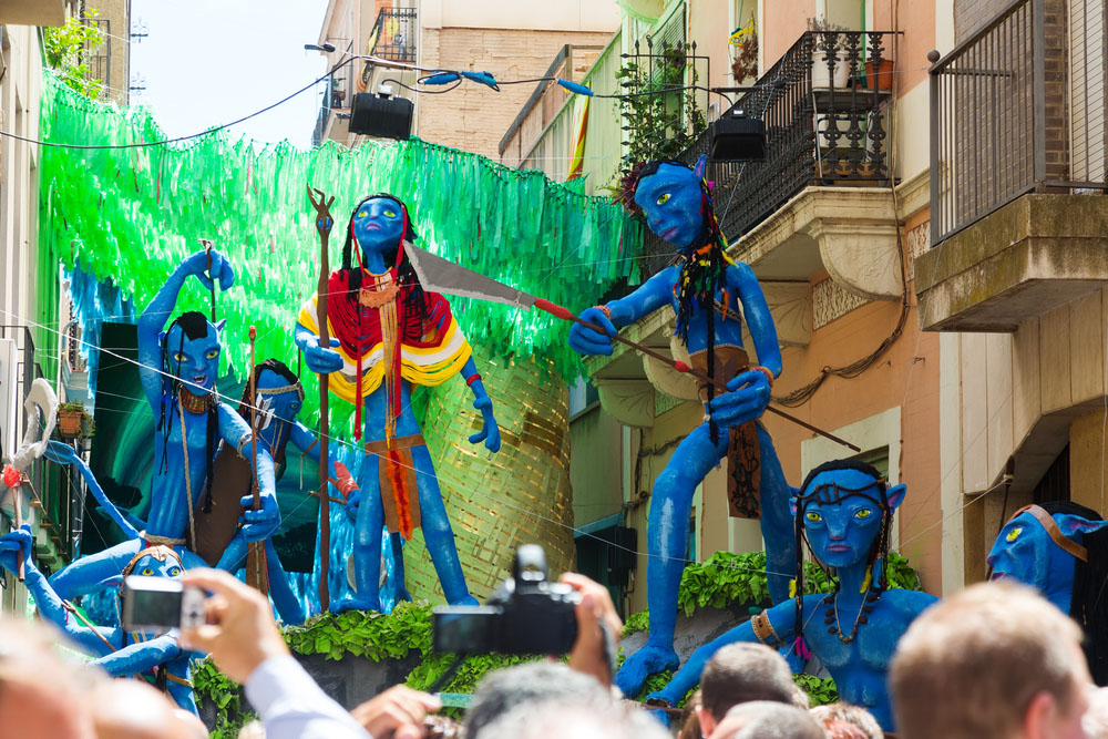 Gracia Festival in Barcelona. Decorated streets of Gracia district. Photo: Shutterstock