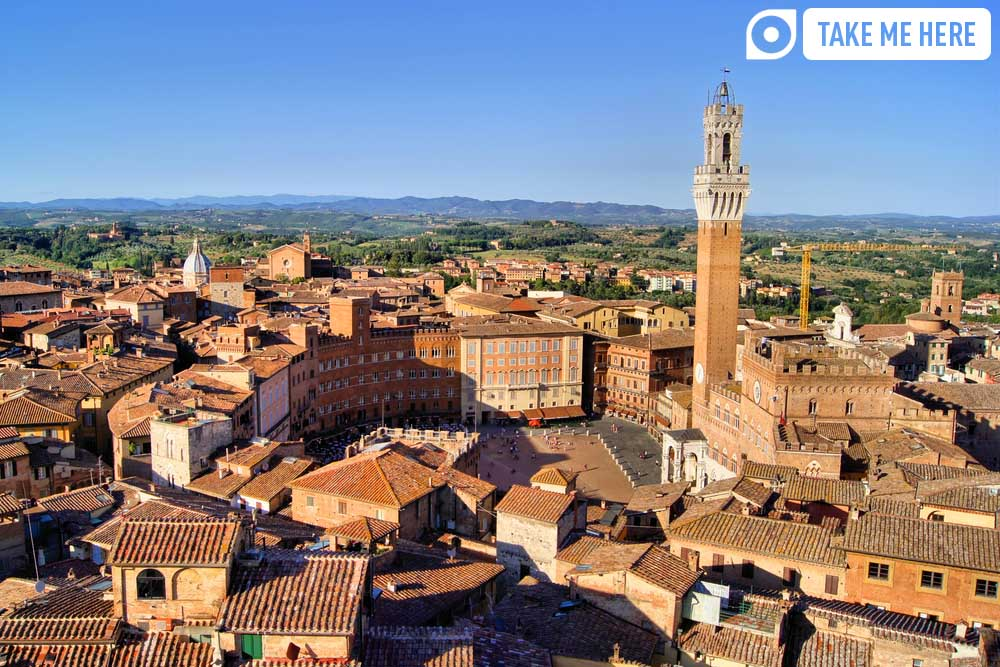 Aerial view over the medieval city of Siena.