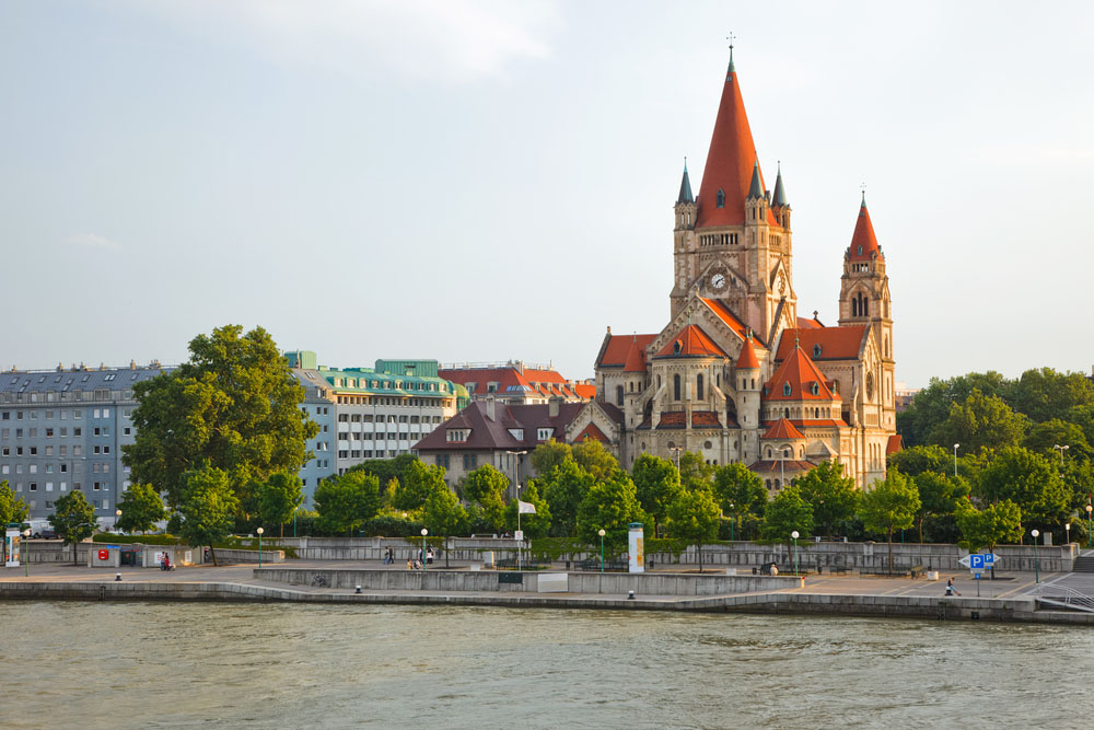 Mexicoplatz church on Danube River, Vienna. Photo: Shutterstock