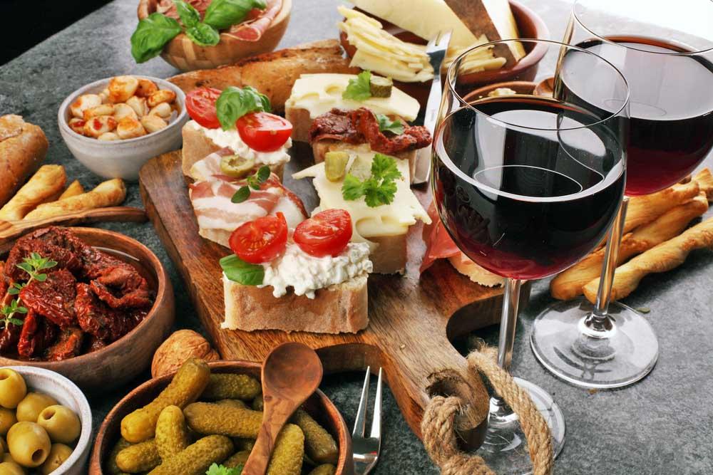 Spanish tapas with wine. Photo: Shutterstock