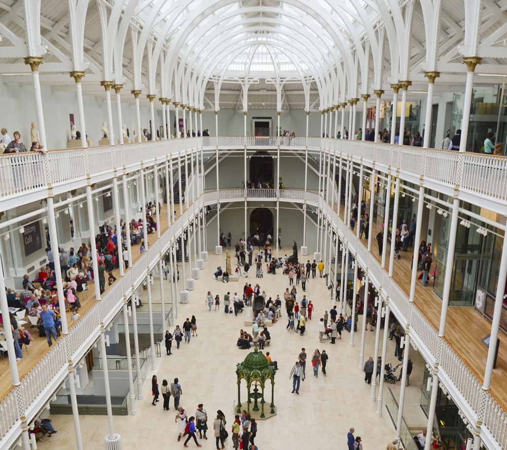 The interior of the Museum of Scotland in Edinburgh, Scotland. Photo: Shutterstock