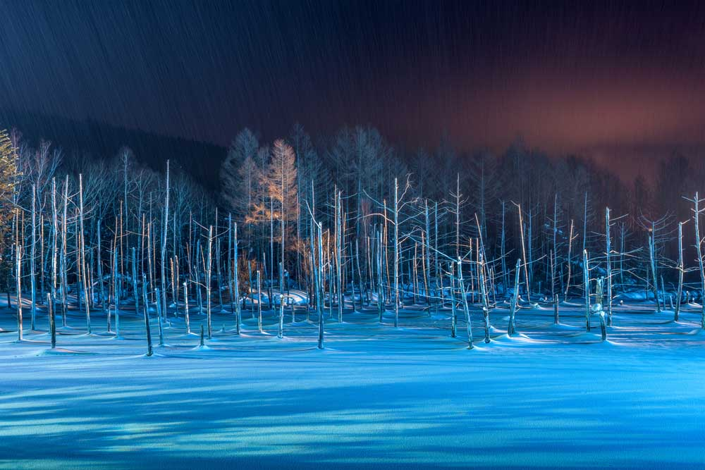 Biei, Japan at Aoike Blue Pond in winter