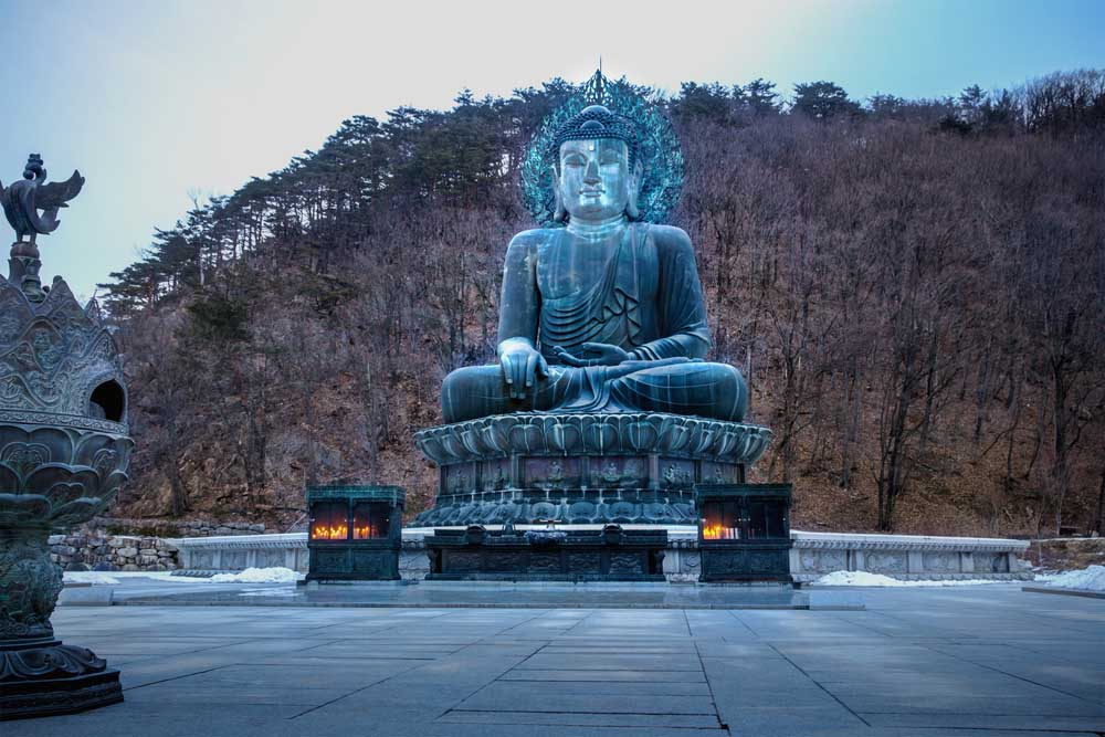 Buddha statue in Seoraksan National Park, South Korea.
