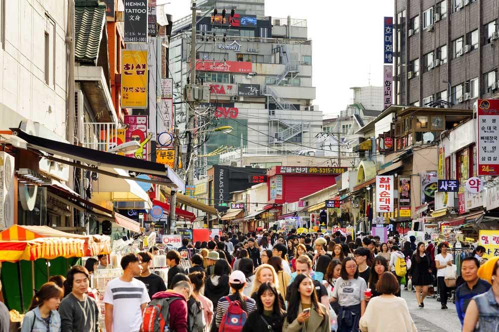 Hongdae shopping street, Seoul.