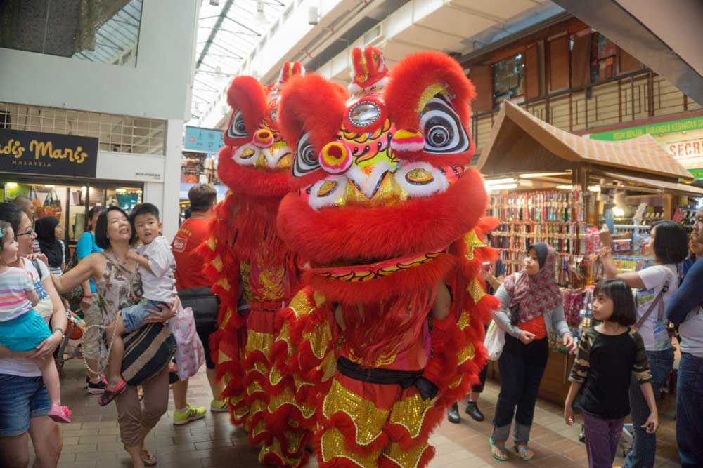 Lion Dance Show Celebration of Chinese New Year at Central Market Kuala Lumpur. Photo: Shutterstock