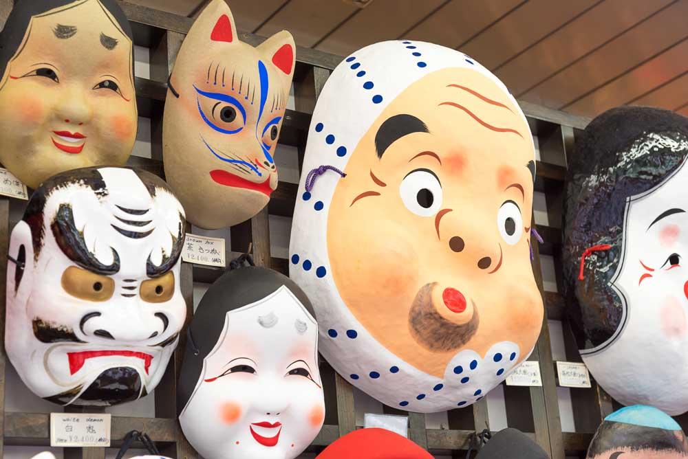 Masks for sale on Nakamise shopping street, near Asakusa Senso-ji Temple