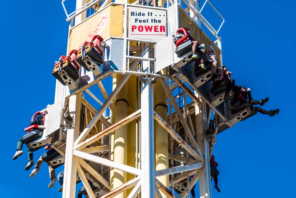 The Space Shot Tower ride at Hanayashiki